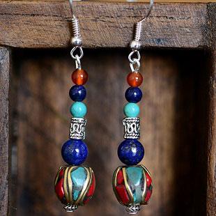 尼泊尔珠藏式耳环      新款波西米亚民族风饰品 独特尼泊尔珠藏式耳环